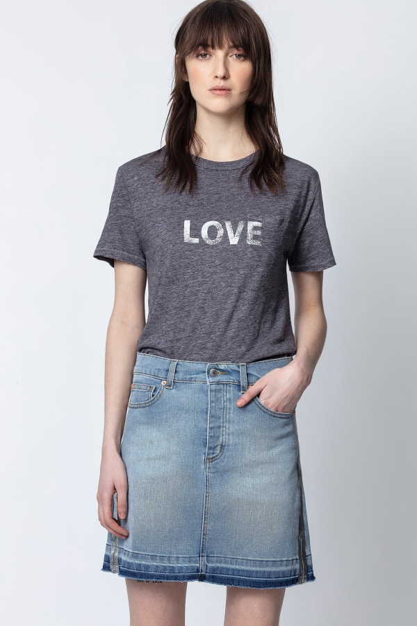 AMBER LIN WORD LINEN SHORT-SLEEVE