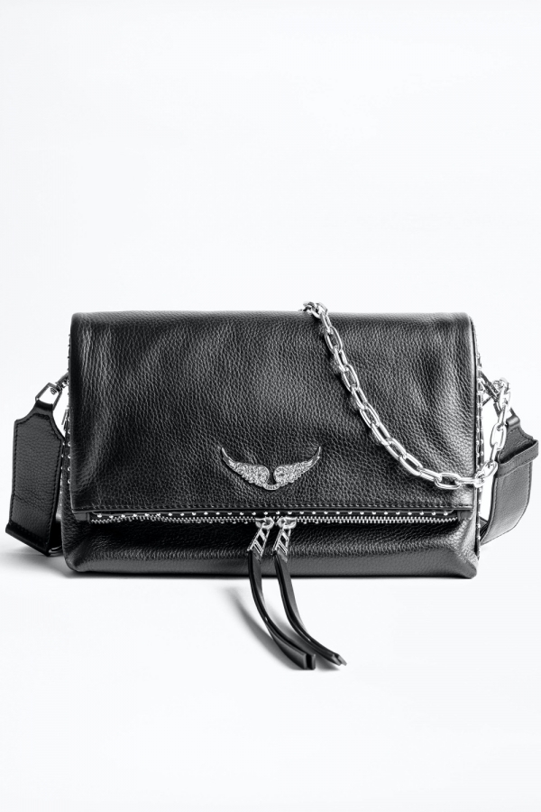 ROCKY GRAINED LEATHER + STUDS BAG