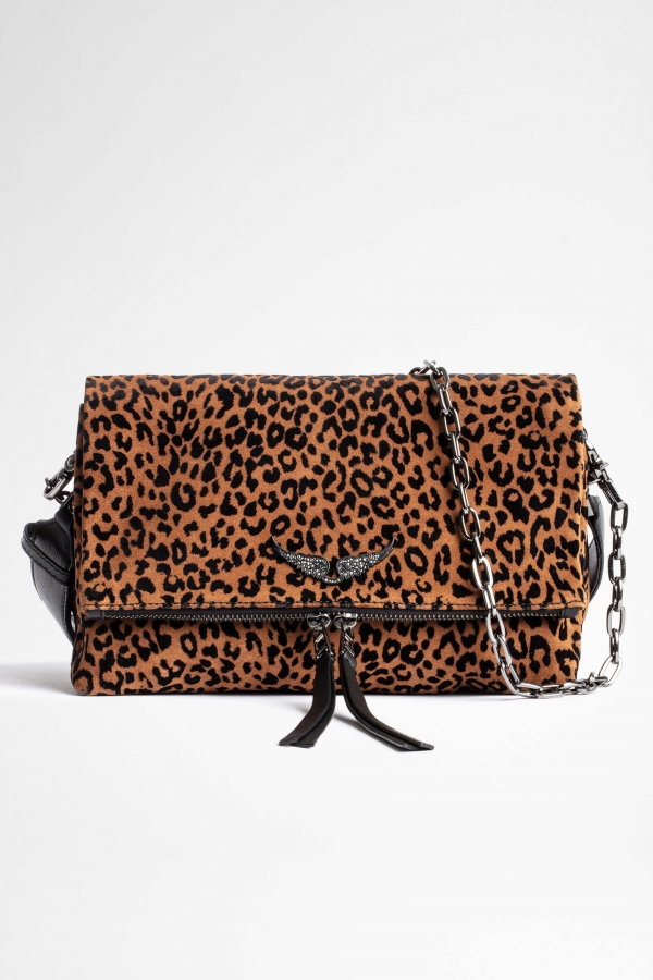 ROCKY FLOCKED LEO SUEDE BAG